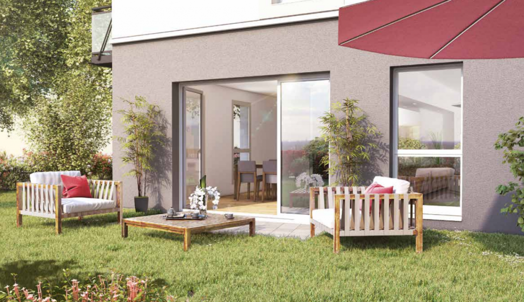 vue extérieur programme neuf longvic - jardin